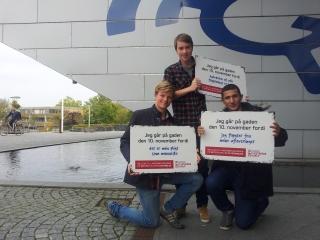Mikkel Funder, Mikkel Visby og Kenan Sari fra Nærum gymnasium.